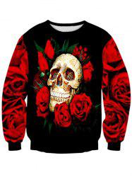 Rose Skull 3D Print Long Sleeve Crew Neck Sweatshirt -