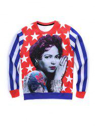 Round Neck 3D Star and Stripe Tatto Girl Print Long Sleeve Sweatshirt