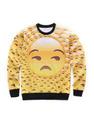 Round Neck 3D Emoji Face Print Long Sleeve Sweatshirt -