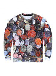Round Neck 3D Coins Print Long Sleeve Sweatshirt -