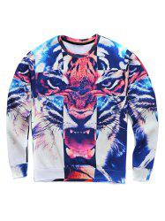 Round Neck 3D Tiger Cross Print Long Sleeve Sweatshirt -