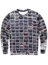 Round Neck 3D Tape Print Long Sleeve Sweatshirt -