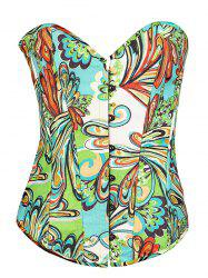 Slim Butterfly Print Lace-Up Corset
