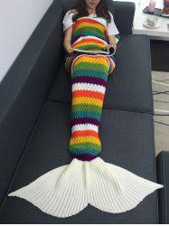 Rainbow Color Crochet Knitting Mermaid Tail Design Blanket