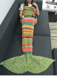 Warmth Colorful Striped Acrylic Knitting Mermaid Blanket -