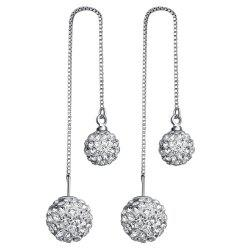 Pair of Rhinestone Ball Ear Threads - SILVER