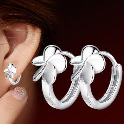 Flower Hoop Earrings - SILVER