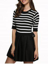 Striped Lace-Up Splicing Dress -