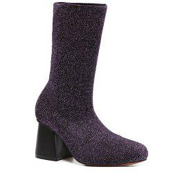 Square Toe Chunky Heel Sequined Sock Boots -