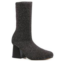 Square Toe Chunky Heel Sequined Sock Boots