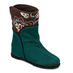 Color Block Embroidery Mid-Calf Boots