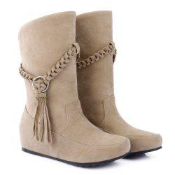 Suede Braid Fringe Mid-Calf Boots - APRICOT 43