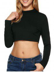 Long Sleeve High Collar Cropped Top - BLACK M