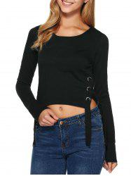 Long Sleeve Grommet Lace-Up Crop T-Shirt