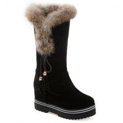 Tassels Hidden Wedge Mid Calf Boots