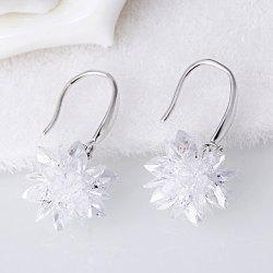 Faux Crystal Flower Hook Earrings