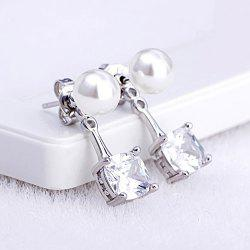 Faux Pearl Square Rhinestone Stud Earrings