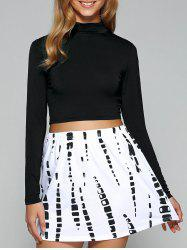 High Collar Long Sleeve Cropped T-Shirt -