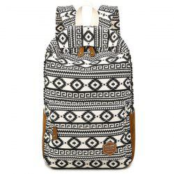 Ethnic Print Suede Splice Canvas Backpack -