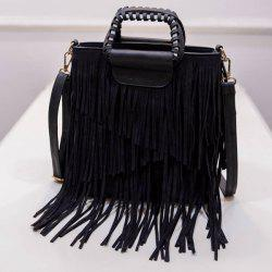 PU Leather Fringe Metallic Tote Bag