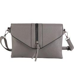Zip Textured PU Leather Crossbody Bag - GRAY