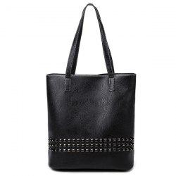 PU Leather Rivet Embellished Shoulder Bag