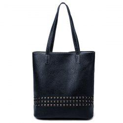 PU Leather Rivet Embellished Shoulder Bag - DEEP BLUE