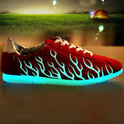 Lace Up Suede Night Growing Fluorescent Shoes - RED