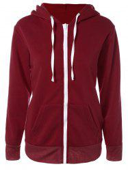 Solid Color Zip Up Fleece Warm Hoodie -