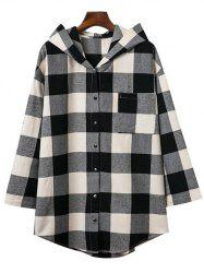 Hooded Oversized Long Flannel Shirt - COLORMIX M