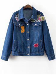 Patched Denim Jacket With Pockets -