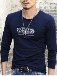 Slim Fit Round Neck Letter Printed T-Shirt -