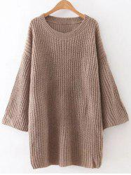 Tunic Casual Oversized Jumper Dress - BROWN ONE SIZE