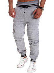 Varsity Striped Buttoned Drawstring Jogger Pants -