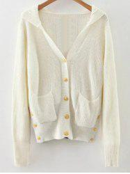 Buttoned Hooded Cardigan -