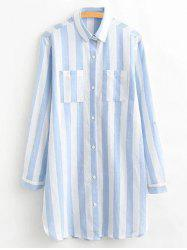 Double Pocket Striped Long Shirt -