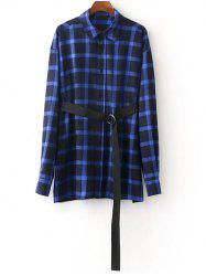 Belted Checked Oversized Shirt - BLUE L