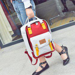 Nylon Double Buckle Color Block Backpack -