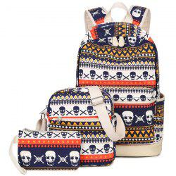 Canvas Geometric Skull Print Backpack - BLUE