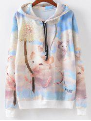 Cartoon Print Hoodie - MULTI XL
