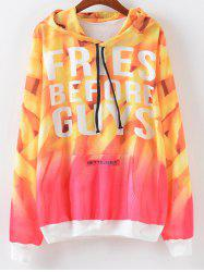 Ombre Letter Print Hoodie - YELLOW/RED XL