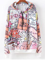 Cartoon Letter Pattern Hoodie - COLORMIX XL
