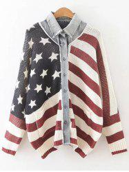 American Flag Single Breasted Cardigan - COLORMIX