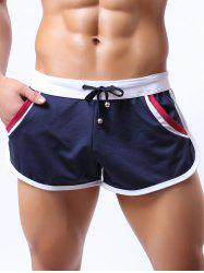 Lace-Up Color Block Splicing Home Shorts - CADETBLUE