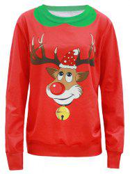 Pullover 3D Fawn Print Christmas Sweatshirt - RED 4XL