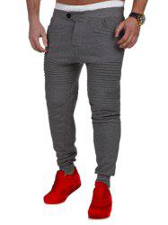 Casual Pleated Insert Buttoned Jogger Pants -