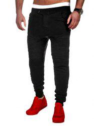 Casual Pleated Insert Buttoned Jogger Pants - BLACK
