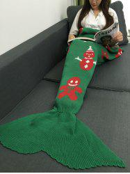 Snow Man Design Knitted Christmas Mermaid Tail Blanket - GREEN