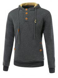 Elbow Patch Long Sleeve Drawstring Pullover Hoodie - DEEP GRAY XL
