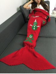 Snow Man Design Knitted Christmas Mermaid Tail Blanket